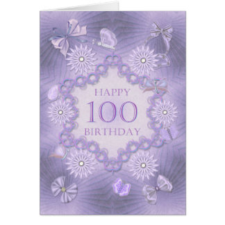 100th birthday card with lavender flowers