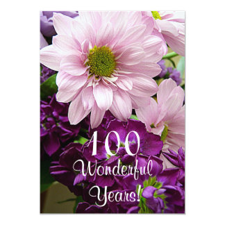 100th Birthday Celebration/Pink Daisy Bouquet Card