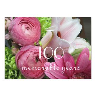 100th Birthday Celebration!-Pretty Pink Flowers 13 Cm X 18 Cm Invitation Card