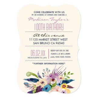 100th Birthday Elegant Bouquet Card