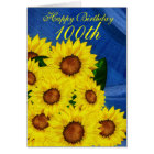 100th Birthday Floral Greeting Card Sunflowers