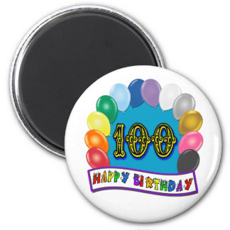 100th Birthday Gifts with Assorted Balloons Design Magnet