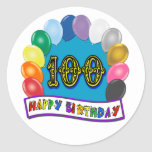 100th Birthday Gifts with Assorted Balloons Design Round Sticker