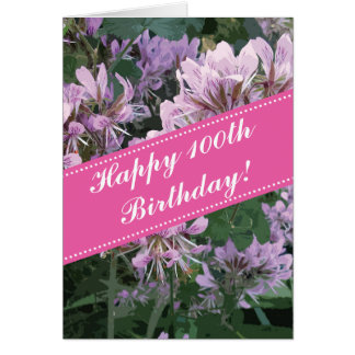 100th Birthday greeting card with pink flowers