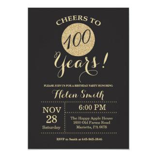 100th Birthday Invitation Black and Gold Glitter