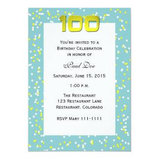 100th Birthday Invitation -- Confetti Personalized Invitation