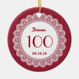 100th Birthday Memento White Lace A06 RED Ceramic Ornament