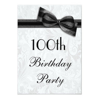 100th Birthday Party Damask and Faux Bow 13 Cm X 18 Cm Invitation Card