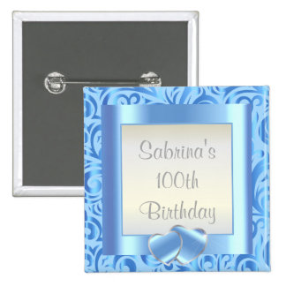 100th Birthday Party | DIY Text | Blue 15 Cm Square Badge