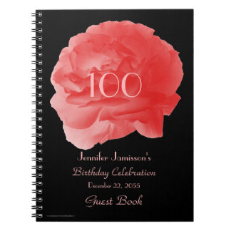 100th Birthday Party Guest Book, Coral Rose Petals Notebook