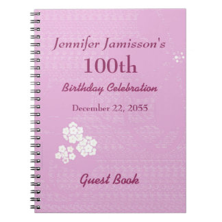 100th Birthday Party Guest Book Pink, White Floral Spiral Note Books