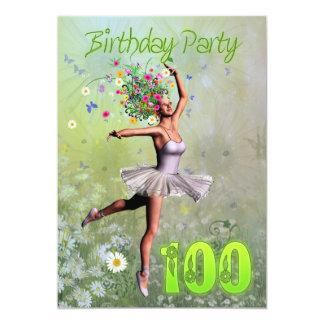 "100th Birthday party invitation 5"" X 7"" Invitation Card"