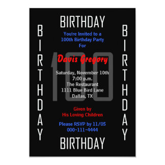 100th Birthday Party Invitation - 100