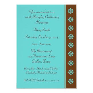 100th Birthday Party invitation -- Aqua and Brown Personalized Invite
