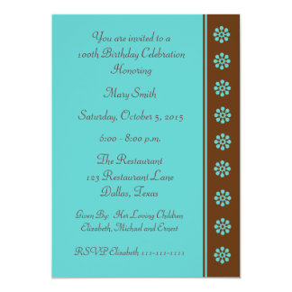 100th Birthday Party invitation Aqua and Brown