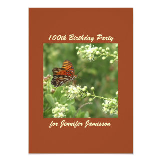 100th Birthday Party Invitation Butterfly