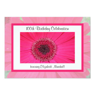 100th Birthday Party Invitation -- Gerbera Daisy Personalized Announcements