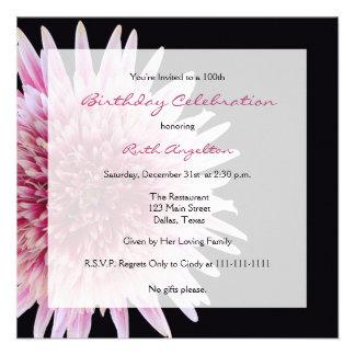 100th Birthday Party Invitation -- Gerbera Daisy