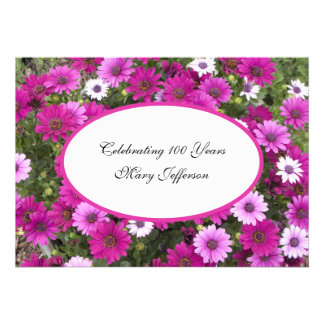 100th Birthday Party invitation -- Gorgeous Floral Personalized Invites