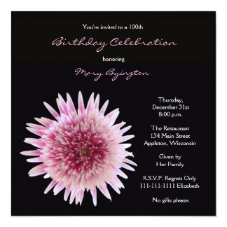 "100th Birthday Party Invitation - Gorgeous Gerbera 5.25"" Square Invitation Card"