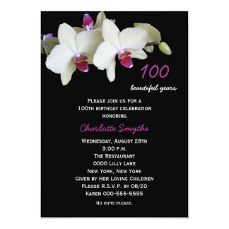 100th Birthday Party Invitation Orchids