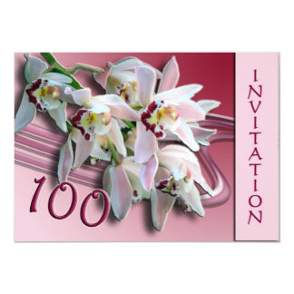 100th Birthday Party Invitation - Orchids