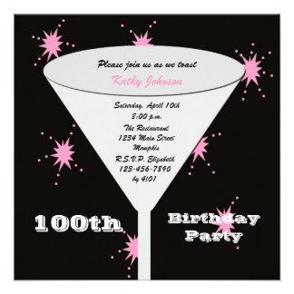 100th Birthday Party Invitation - Pink 100th Toast