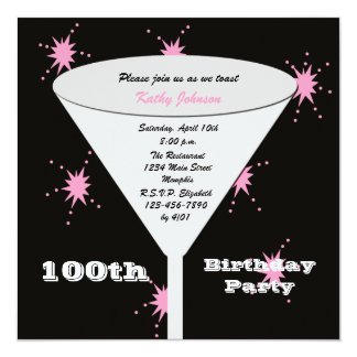 100th Birthday Party Invitation - Pink 100th Toast
