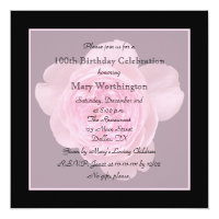 100 Years Old Invitations 100th Birthday Party Invitation Rose For