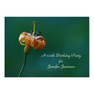 100th Birthday Party Invitation, Yellow Lily 13 Cm X 18 Cm Invitation Card