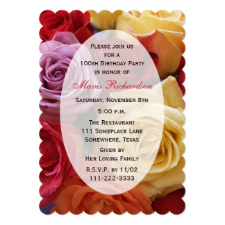 100th Birthday Party Multi Color Roses 13 Cm X 18 Cm Invitation Card
