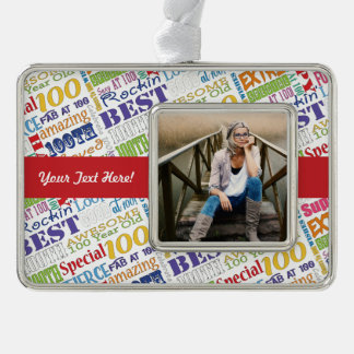 100th Birthday Party Personalized Gifts Silver Plated Framed Ornament