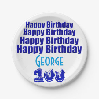 100th Birthday Party Personalized Paper Plates