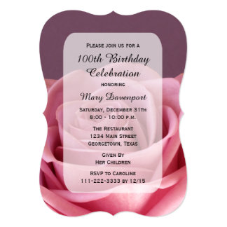 100th Birthday Party Rose Beauty 13 Cm X 18 Cm Invitation Card