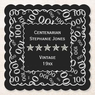 100th Birthday Party White/Black Centenarian Paper Coaster