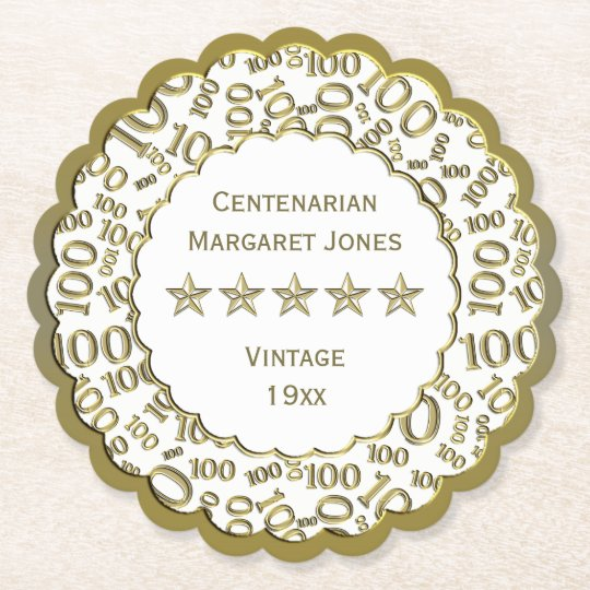 100th Birthday Party White /Gold Centenarian Paper Coaster