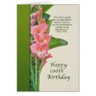 100th Birthday, Pink Gladiolus, Religious Card