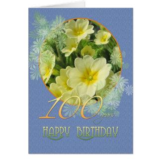 100th Birthday Primroses and blue Card