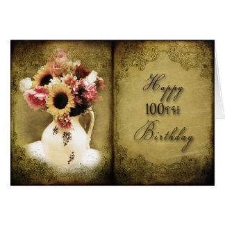 100TH BIRTHDAY - VINTAGE FLORAL BOOK CARD