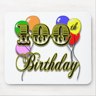100th Birthday with Balloons Mouse Pad