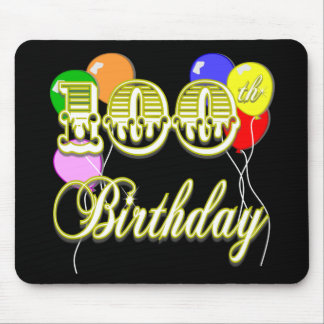 100th Birthday with Balloons Mousepad