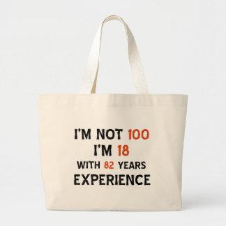 100th cool birthday designs jumbo tote bag