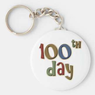 100th Day Basic Round Button Key Ring
