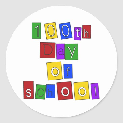 100th Day of School Block Letters Round Stickers