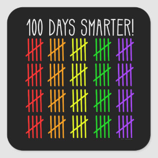 100th Day of School Rainbow Counting Teacher Square Sticker