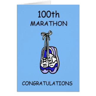 100th Marathon Congratulations, blue. Card