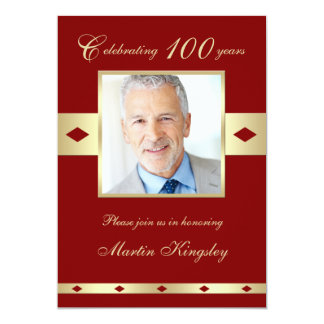 100th Photo Birthday Party Invitation Burgundy