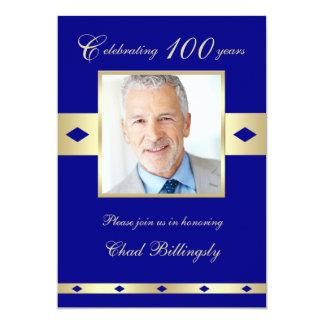 100th Photo Birthday Party Invitation - Navy Card