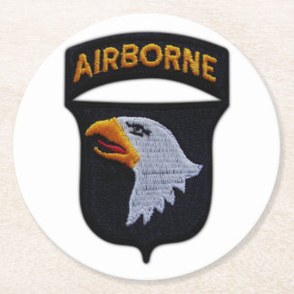 101st ABN Airborne Screaming Eagles Veterans LRRP Round Paper Coaster