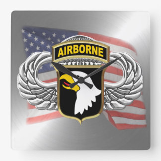 """101st Airborne 10.75"""" Square Wall Clock"""